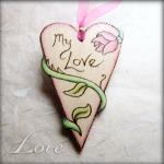 Rose Heart - hanging wooden..