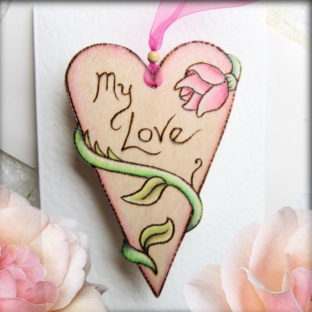 Rose Heart - hanging wooden heart