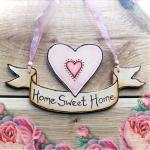 Personalized WOOD HEART scroll banner - anniversary, wedding, loving gift