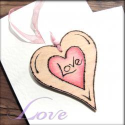 Wood Heart-on-a-Card - 'Love' hanging wooden heart ... weddings, anniversarys, celebrations, love token