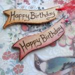 Happy Birthday WOODEN gift tags - hand painted and wood burnt ....