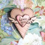 LOVE YOU wooden winged heart - wood burnt, hand painted, ready to hang