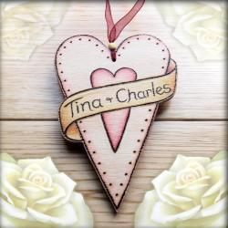 Personalised Wooden Scroll Heart