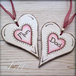 Mum and Dad wooden hearts - pyrographed and personalised